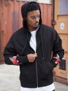 Zip Up Hoodie Roses Black XL