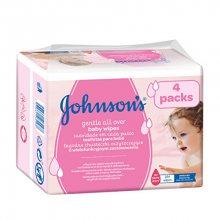 JOHNSON`S Baby Vlhčené ubrousky Baby Gentle Cleansing 4 x 56 ks - SLEVA - prořízlý obal