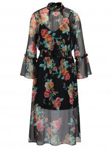 Černé květované šaty s dlouhým rukávem Miss Selfridge