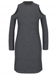 Tmavě šedé svetrové šaty s průstřihy na ramenou Juicy Couture