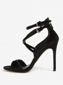 Černé sametové sandálky na jehlovém podpatku Miss KG Faleece