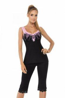 Donna Karina dámské pyžamo 3/4 černá XXL černo-růžová