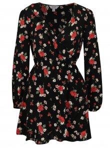 Černé květované šaty s překládaným výstřihem Miss Selfridge Petites
