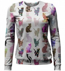 Women Fit Comic Cat Pattern barevné M