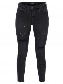 Tmavě šedé super slim fit džíny s potrhaným efektem Noisy May Lucy