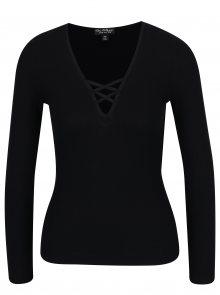 Černé tričko s véčkovým výstřihem a šněrováním Miss Selfridge