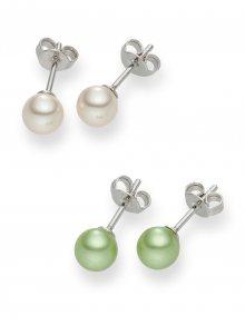 Nova Pearls Copenhagen Dámské puzetové náušnice bílé a zelené barvy 60201816\n\n