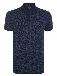 Emporio Armani Černo-modrá luxusní polokošile s ornamentem od Armani Jeans Velikost: XL