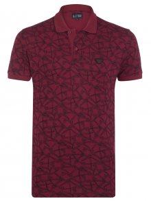 Červeno-černá luxusní polokošile s ornamentem od Armani Jeans Velikost: M