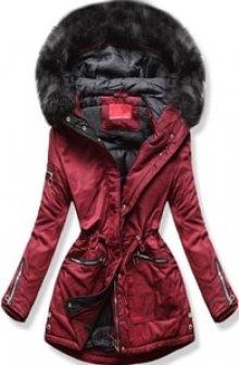 MODOVO Dámská zimní bunda s kapucí PO-305 bordó