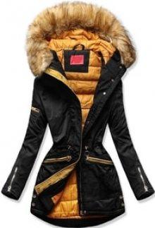 MODOVO Dámská zimní bunda s kapucí PO-305 černo-oranžová