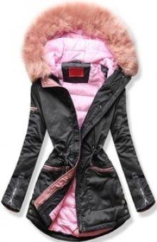 MODOVO Dámská zimní bunda s kapucí PO-305 grafitově-růžová