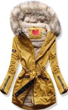MODOVO Dámská zimní bunda s kapucí PO-305 camel