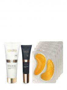 Eclat Skin Luxusní pleťová sada - oční krém, kolagenové náplasti a maska - s 24kt zlatem 637665743678\n\n