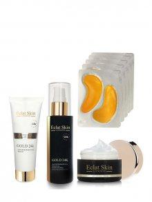 Eclat Skin Luxusní pleťová sada - maska, kolagenové náplasti, sérum a krém - s 24kt zlatem\n\n