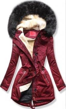 MODOVO Dámská zimní bunda s kapucí PO-307 bordó