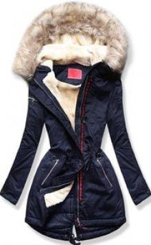 MODOVO Dámská zimní bunda s kapucí PO-307 tmavě modrá