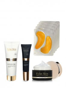 Eclat Skin Luxusní pleťová sada - oční krém, kolagenové náplasti, maska a krém - s 24kt zlatem\n\n