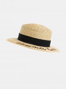 Béžový klobouk s výšivkou Pieces Gilly