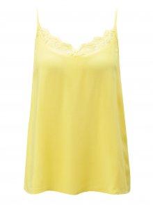 Žluté tílko s krajkou v dekoltu Jacqueline de Yong Fame