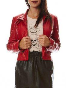 Isaco&Kawa Dámská kožená bunda A2149-Rouge\n\n
