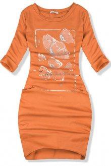 Oranžové volné bavlněné šaty