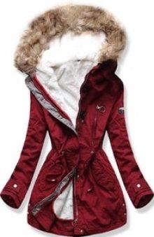MODOVO Dámská zimní bunda s kapucí B-73 bordó