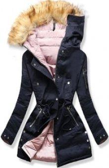 MODOVO Dámská zimní bunda s kapucí B-745 modro-pudrová