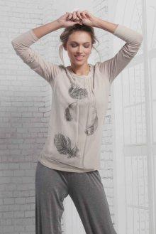 Deha béžové tričko s transparentním přehozem - XS