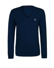 Tmavě modro-bílý prémiový svetr od Ralph Lauren Velikost: M