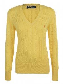 Žluto-oranžový prémiový svetr s ornamentem od Ralph Lauren Velikost: XL