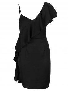 Černé asymetrické pouzdrové šaty s volánem Miss Selfridge
