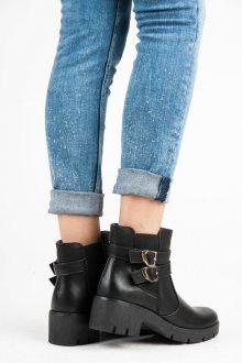 Elegantní černé kotníkové boty s přezkami
