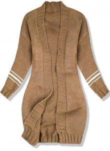 Hnědý svetr s proužky na rukávech