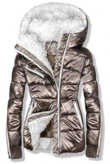 Hnědá metalická zimní bunda