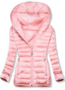 Světle růžová oboustranná bunda s puntíkovou podšívkou