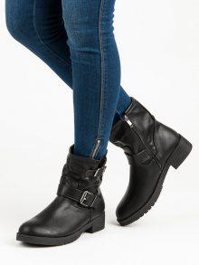 Černé kotníkové boty s přezkou