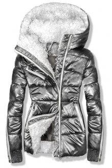 Stříbrná metalická zimní bunda