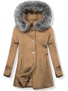 Vlněný podzimní kabát 1950 béžová/šedá