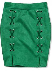 Zelená semišová sukně