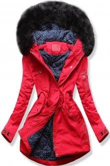 Červená zimní parka s tečkovanou podšívkou