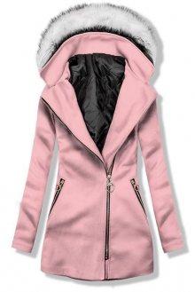 Růžový kabát s kapucí