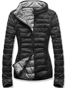 Černo-šedá jarní prošívaná bunda