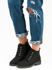 Vázané černé dámské kotníkové boty