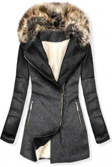 Grafitový zimní kabát s kožešinovou podšívkou