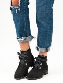 Skvělé černé kotníkové boty vázané stužkou
