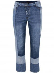 Modré zkrácené slim džíny s vyšisovaným efektem Ulla Popken