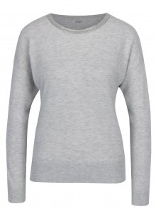 Světle šedý svetr s aplikací ve výstřihu Haily´s Shila