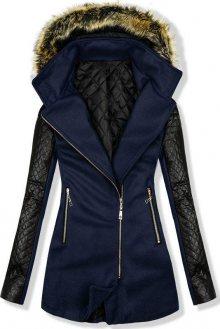 Tmavě modrý kabát s koženkovými rukávy