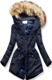 MODOVO Dámská zimní bunda s kapucí W710 tmavě modrá